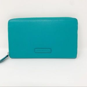 Vera Bradley Teal Leather Zip Around Wallet NWOT